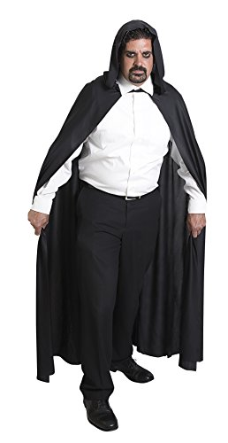 [Kangaroo's Halloween Accessories - Long Black Hooded Cape] (Costume Black Cloak)