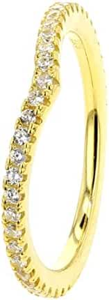 Yellow Gold Plated .925 Sterling Silver Cubic Zirconia V Shape Band