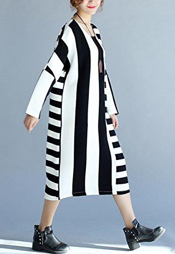 ELLAZHU Women Baggy Fashion Crew Neck Color Block Knit Shirtdress GA542 GA542