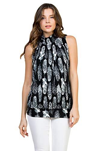 Classic Mock Neck Tank - Pleated Turtleneck Sleeveless Dressy Jersey Top w/Waistband (Feather - Black-Grey, Large)