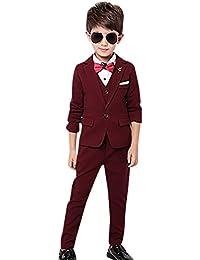 Boy's Tuxedo Suit Set 3 Pcs Formal Lapel Dress Formal Suit Set Jacket Vest Pants 2t-12Y