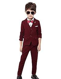 Boy's Tuxedo Suit Set 3 Pcs Formal Lapel Dress Wedding Suit Set 2t-12Y