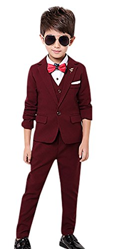 Boys Modern Dress Suit Plaid 3 PCS Formal Wedding Dress Suit Set Single Breasted Tux Suits Set Red Wine 7-8Y by Luobobeibei