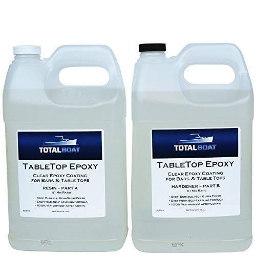 Crystal Clear Epoxy Resin | TotalBoat 2 Gallon Epoxy Resin & Hardener Kit For Bar, Table Tops & Countertops | Pro Epoxy Coating For Wood, Concrete, Art ()
