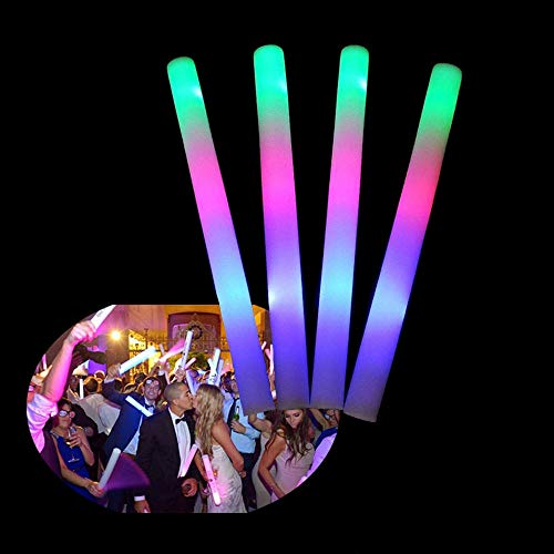 (Blu7ive 50 Pieces Glow Foam Sticks, 3 Modes Flashing Light Up Led Foam Stick for Party, Concert,)