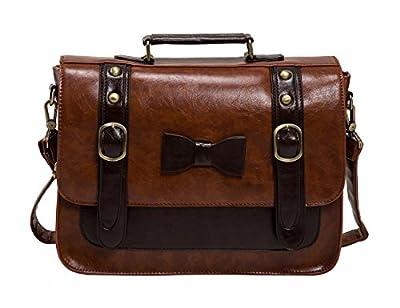 ECOSUSI Women Vintage Faux Leather Messenger Shoulder Satchel Weekender Fashion Bag