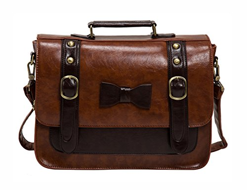 ECOSUSI Women Vintage Faux Leather Messenger Shoulder Satchel Weekender Fashion Bag, Brown
