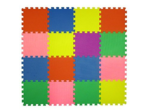 16 Piece Interlocking Puzzle Tile Exercise Mat Child Safe Playmat Multi Color Eva Foam Play Exercise Yoga Pilates, Model: , Toys & Gaems Tundras