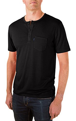 Woolly Clothing Men's Merino Wool Henley Tee Shirt - Everyday Weight - Wicking Breathable Anti-Odor S BLK