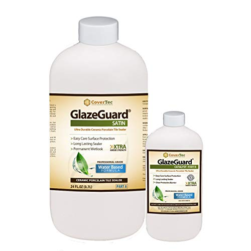 GlazeGuard Satin Floor Sealer Wall Sealer for Ceramic, Porcelain, Stone Tile Surfaces (1 Qrt - Prof Grade (2) Part Kit)