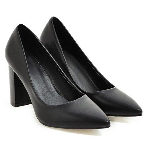 COOLCEPT Mujer Moda sin Cordones Puntiagudo Tacon Ancho Alto Bombas Zapatos Boca Baja Zapatos (41 EU , PU Beige)