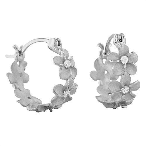 Sterling Silver 7mm Plumeria Hoop - Jewelry Hawaiian Plumeria