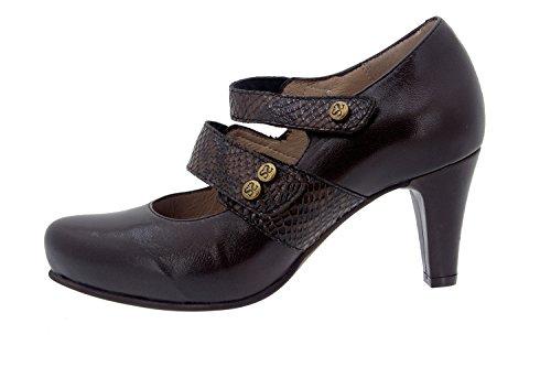Calzado mujer confort de piel con plantilla Piesanto 5228 merceditas zapato vestir cómodo ancho Caoba