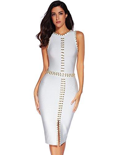 Meilun Rayon Sleeveless Studded Bandage Evening Dresses White S