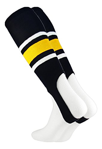MadSportsStuff Pattern E Baseball Stirrups By TCK (Black/Gold/White, Medium)