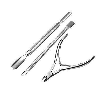 Fligatto - Alicates de metal para cutículas, herramienta de manicura, kit de herramientas para uñas, corte de piel muerta, tenedor de acero, tres juegos: ...