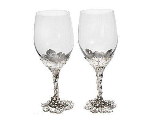 Arthur Court Designs Aluminum Grape Pattern Base Wine Glasses 8.5 Inches (Glass Grape Pattern)