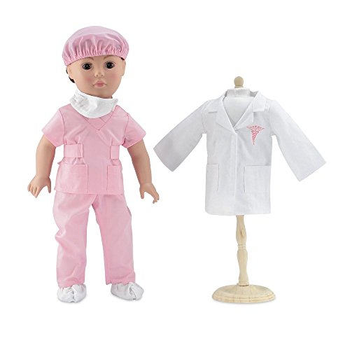 18 Inch Doll Clothes | Complete 6-piece Doctor or Nurse Hospital Pink Scrubs Outfit, Including White Doctor's Coat, Scrubs with Matching Surgical Hat, and Mask and Booties | Fits American Girl (Doctor Outfit)