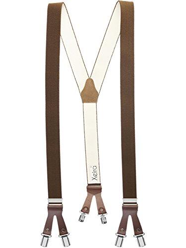 Xeira Hochwertige Hosenträger in Uni Farben mit Lederriemen und 6 Clips bis XXL 140 Bandlänge verfügbar - Made in Germany / Schwarz / Braun / Beige / Blau / Grau / Grün / Rot / Weiß (Normale Größe, Braun / Braun - 803)