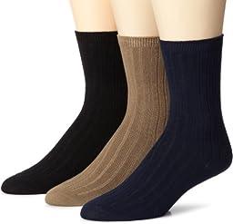 Stride Rite Little Boys\' Comfort Seam Three Pack Ribbed Crew Socks, Navy/Khaki/Black, 6-7.5