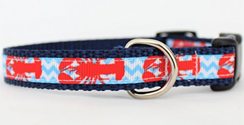 Beach Biscuit Small Dog Collar Lobster Chevron 5/8