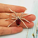 SELOVO Party Spider Red Cz Stone Crystal Brooch Pin Gold Tone