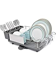 TOOLF Stainless Steel Dish Drying Rack, Dish Rack with Anti-Rust Frame, Optional 2 Direction Spout Drain Board Design, Removable & Large 4 Compartment Utensil Holder for Kitchen Countertop, Black