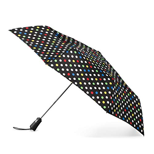 Totes Titan Compact Travel Umbrella – Ultimate Windproof, Waterproof and UV Sun Protection, Lightweight and Durable Construction, One Touch Automatic Open/Close, White Multi Sport Dot