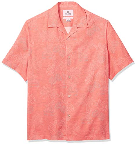 28 Palms Men's Relaxed-Fit 100% Textured Silk Tropical Leaves Jacquard Shirt, Coral, Large - Jacquard Big Shirt
