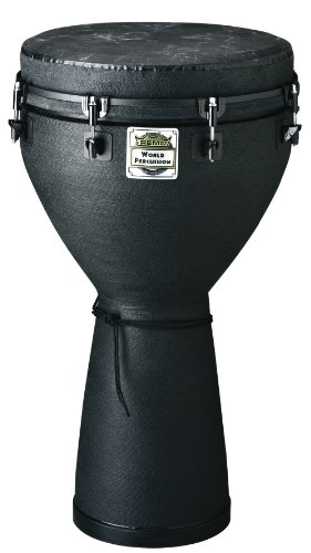 REMO Djembe, MONDO, Key-Tuned, 12'' x 24'', SKYNDEEP FIBERSKYN, Black, Contour Tuning Brackets, Black Earth Finish by Remo (Image #1)