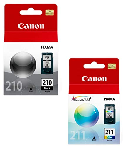 Canon PG-210 Black, CL-211 Color Ink Cartridge Set for PIXMA MP240 MP250 MP270 MX320 MX330 MX340 IP2700 IP2702 Printers OEM (Ink Canon Mp495)