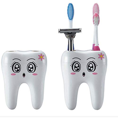 Aqua Matte Bronze Wall - Bathroom Accessories Sets - Cartoon Teeth Style Toothbrush Holder 4 Hole Stand Tooth Brush Shaving Razor Shelf Bracket Container - Elephants Green Aqua Porcelain Women Bathroom Outdoor Gr