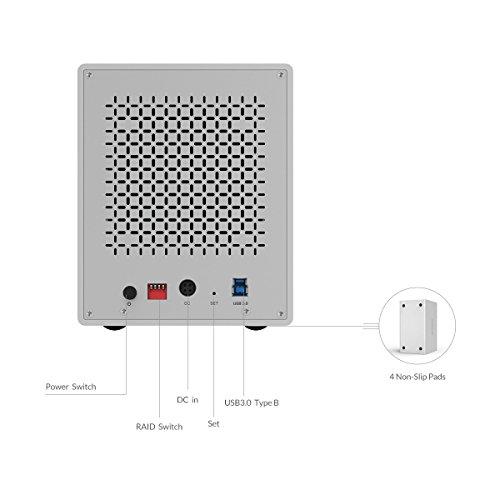 Yottamaster Aluminum Alloy 5 Bay 3.5 Inch USB3.0 RAID External HDD Enclosure SATAIII Support 5 x 10TB & UASP -Silver by Yottamaster (Image #1)