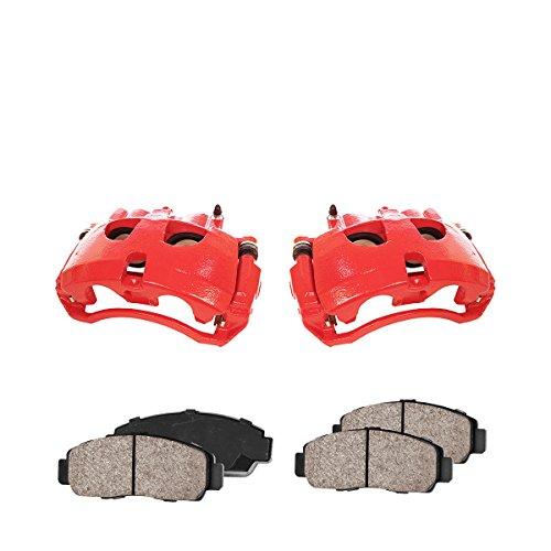 Callahan CCK03473 FRONT Premium Red Coated Caliper Pair + Ceramic Brake Pads + Hardware Kit
