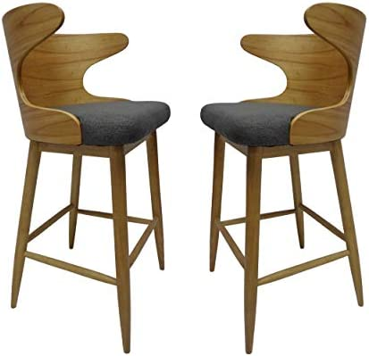Christopher Knight Home Truda Mid Century Modern Fabric Barstools Set of 2