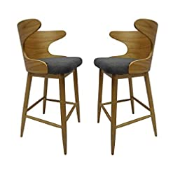 Kitchen GDFStudio 304582 Truda Mid Century Modern Fabric Barstools | Set of 2, Charcoal/Natural modern barstools