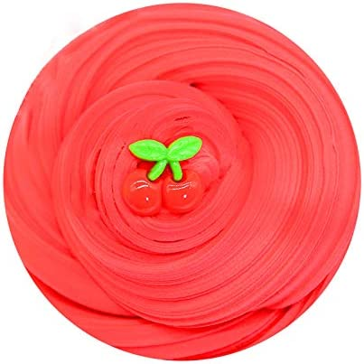 Putty Soft Strechy Non-Sticky Candy Yellow Pineapple Charm Butter Slime Supplies Stress Relief DIY Toy for Girls and Boys 7oz Arcilla Seca al Aire,Red Cherry Butter Fluffy Slime