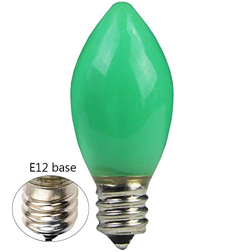 Goothy Indoor & Outdoor String Light C7 Ceramic Christmas Replacement Bulbs, 5 Watt-Green