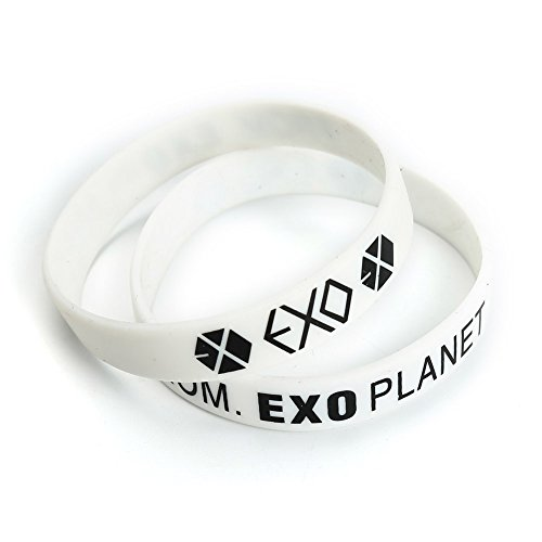 Hot AhlsenL 2PCS EXO Kpop 3D Silicone Wristband Rubber Accessories Bracelet free shipping