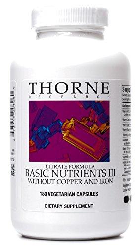 Thorne Research - nutrientes básicos III - completa salud de multivitaminas y minerales suplemento sin cobre y hierro - 180 cápsulas vegetarianas