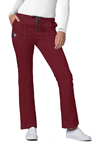Adar Pop-Stretch Junior Fit Mid Rise Flare Leg Pants - 3104 - Wine - - Scrub Fit Flare