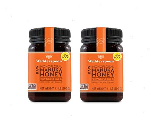 Wedderspoon Raw Manuka Honey Active 16+, 17.6 oz Jar (two Pack)