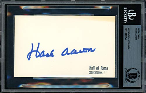 - Hank Aaron Autographed Signed Memorabilia 3X5 Index Card Atlanta Braves - Beckett Authentic