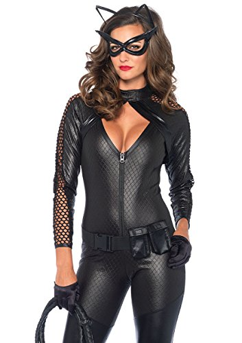 Leg Avenue Women's 4 Piece Wicked Kitty Costume, Black, Large