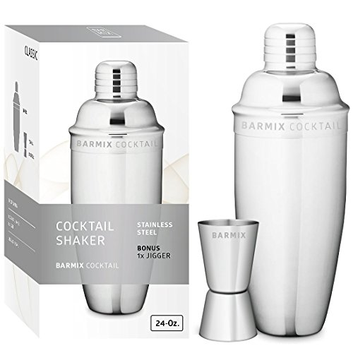 Martini Mix Drinks (Barmix Martini Cocktail Shaker 24 Ounces, Stainless Steel, Jigger Included)