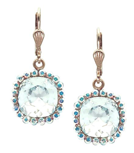 - Catherine Popesco 10mm Cushion Cut Ice Blue with Crystal AB Swarovski Crystal Goldtone Earrings