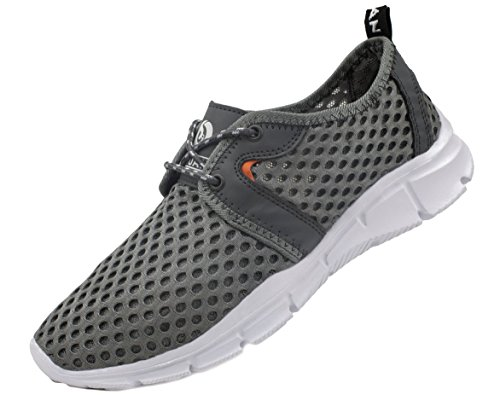 JUAN Men's Lightweight Athletic Quick Drying Mesh Aqua Slip-on Water Shoes (MEN,45EU/11US, Grey)