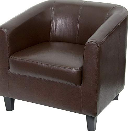 (Campton Brown Leather Barrel Shaped Guest Lounge Chair - Reception Area Side Chair | Model LNGCHR - 254)