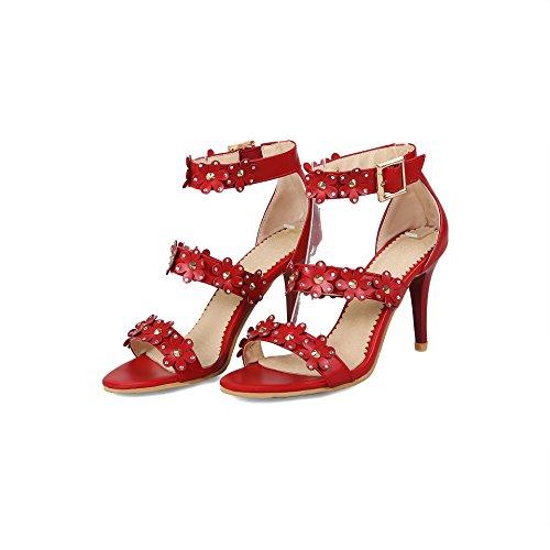 de amp;S Toe Peep Mei Mujer de Tacones de Sandalias Red Zapatos Aguja wEqdx6A