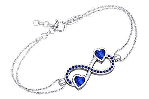 AFFY Heart & Round Shape Simulated Blue Sapphire Infinity Heart Chain Bracelets in 14k White Gold Over Sterling Silver -7.5